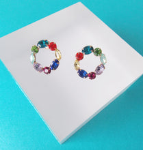 Load image into Gallery viewer, Multi Coloured Rhinestone Stud Earrings