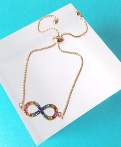 Multi Coloured Rhinestone Infinity Bracelet