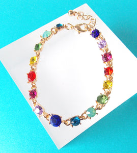 Multi Coloured Rhinestone Bracelet