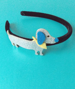 Girls Silver Sausage Dog Headband and Hair Clip Set