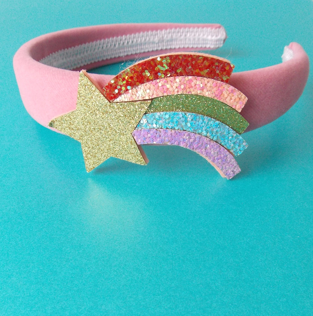 Girls Rainbow Glitter Pink Headband
