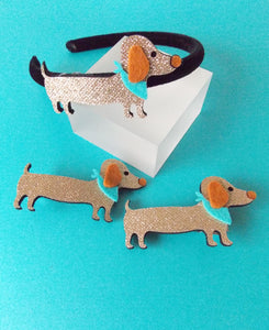 Girls Gold Sausage Dog Headband and Hair Clip Set