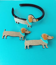 Load image into Gallery viewer, Girls Gold Sausage Dog Headband and Hair Clip Set