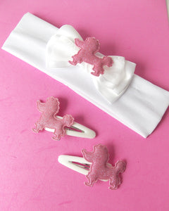 Girls White and Pink Poodle Headband and Hair Clip Set