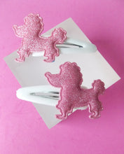 Load image into Gallery viewer, Girls White and Pink Poodle Headband and Hair Clip Set