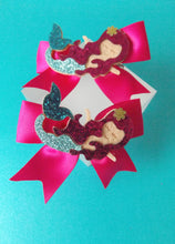 Load image into Gallery viewer, Girls Pink Glitter Mermaid Headband and Hair Clip Set