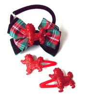 Load image into Gallery viewer, Girls Red Poodle and Tartan Bow Headband and Hair Clip Set