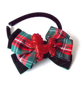 Girls Red Poodle and Tartan Bow Headband and Hair Clip Set