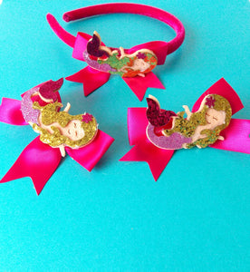 Girls Gold Glitter Mermaid Headband and Hair Clip Set