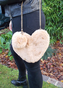 Beige Faux Fur Heart Pom Pom Cross Body Bag