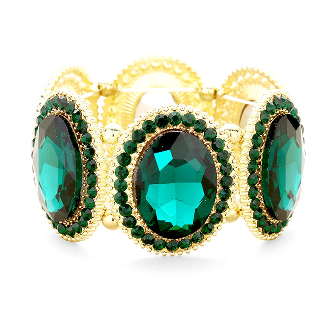Emerald Green Jewelled Oval Stretch Bracelet