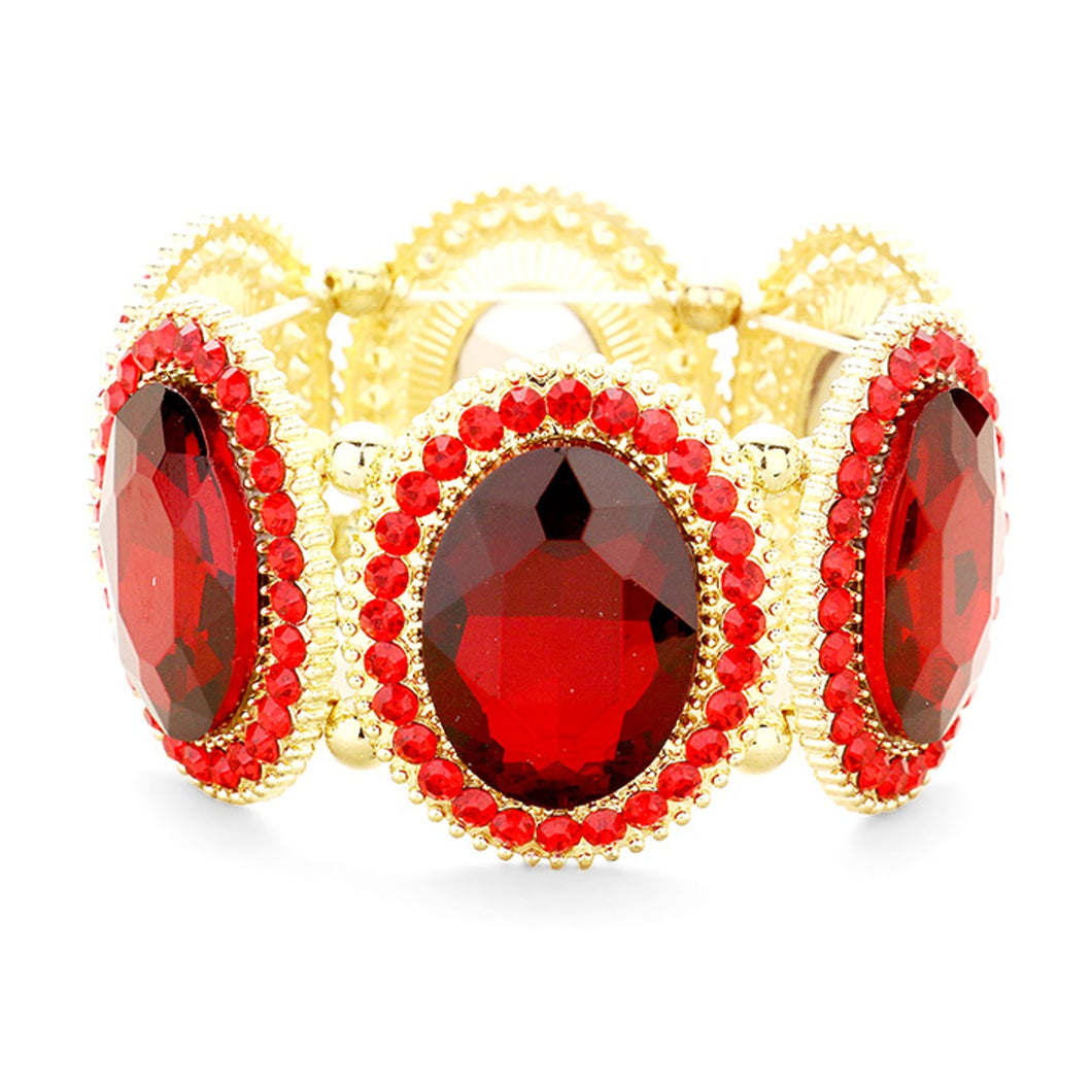 Red Oval Jewelled Stretch Bracelet