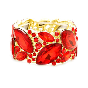 Red Chunky Jewel Stretch Bracelet