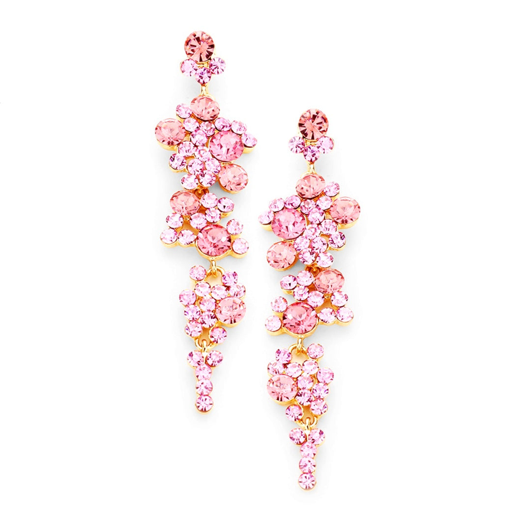 Pink Floral Style Prom Earrings
