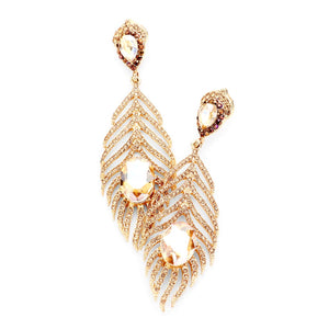 Gold Feather Rhinestone Statement Earrings