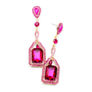 Fuchsia Pink Rhinestone Drop Statement Earrings