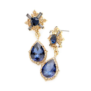 Navy Blue and Gold Crystal Teardrop Earrings