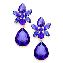 Load image into Gallery viewer, Royal Blue Floral Teardrop Glass Earrings
