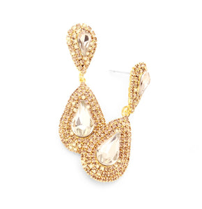 Gold Crystal Pave Drop Earrings