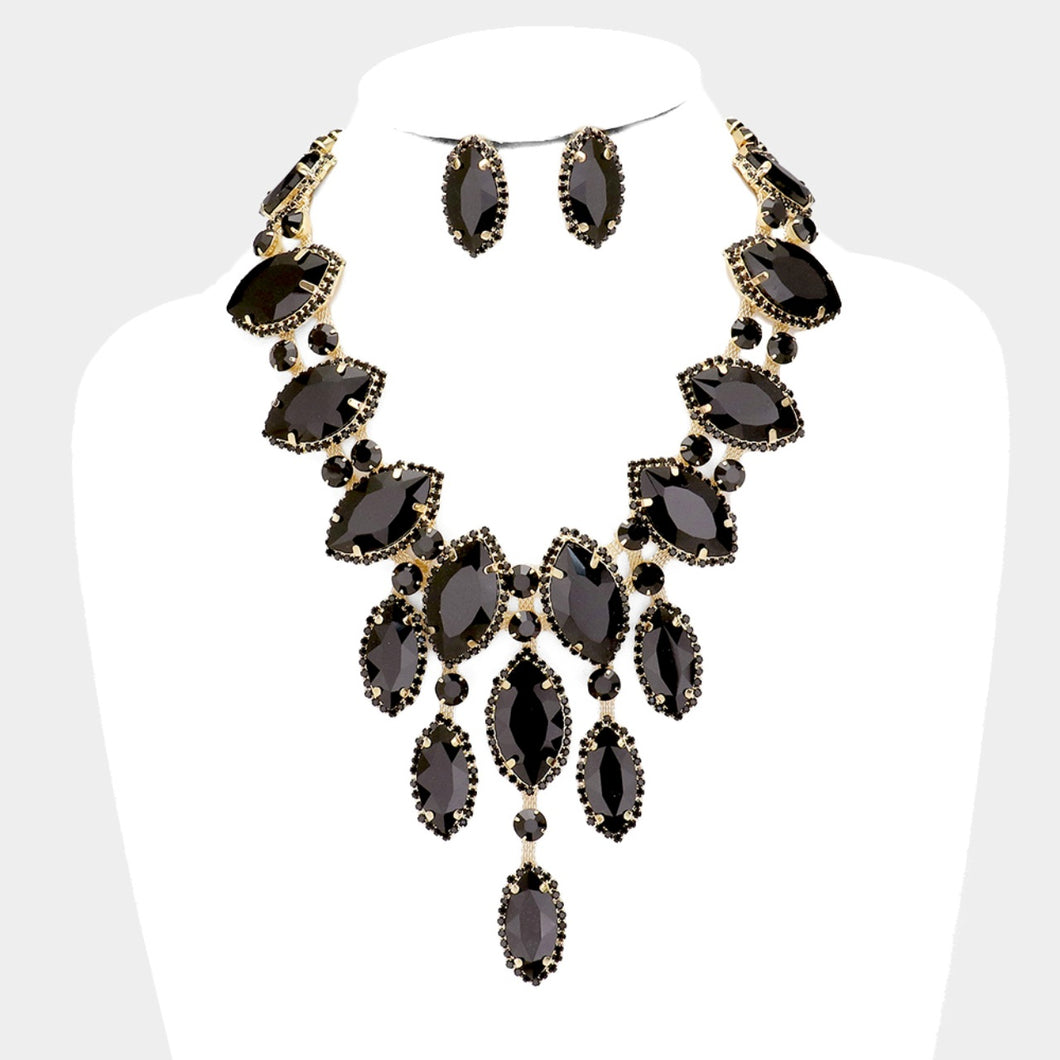 Black Jewelled Statement Necklace and Earrings Set