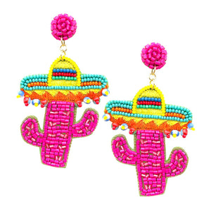 Mexico Cactus Hat Earrings
