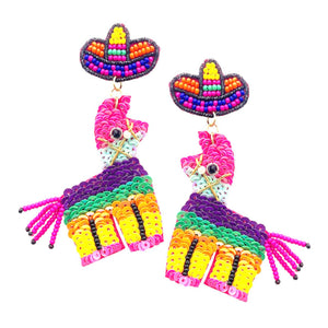 Llama  Pinata Sequin Beaded Earrings