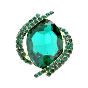 Emerald Green Jewelled Stretch Cocktail Ring