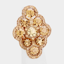 Load image into Gallery viewer, Gold Jewelled Stretch Cocktail Ring
