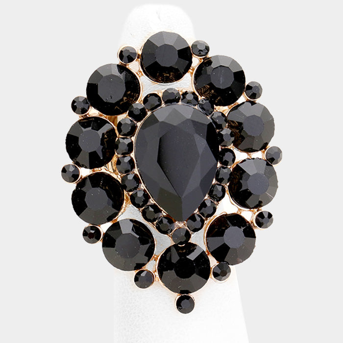 Over-Sized Black Jewelled Stretch Cocktail Ring