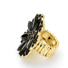Load image into Gallery viewer, Black Floral Jewelled Stretch Cocktail Rings