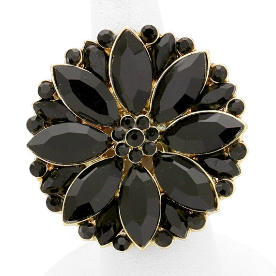 Black Floral Jewelled Stretch Cocktail Rings
