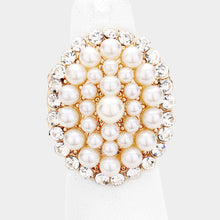 Load image into Gallery viewer, Pearl and Gold Stretch Style Cocktail Ring