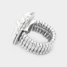 Load image into Gallery viewer, Pearl and Silver Stretch Style Cocktail Ring