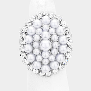 Pearl and Silver Stretch Style Cocktail Ring
