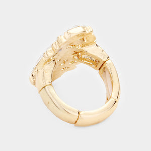 Gold Jewelled Stretch Cocktail Ring