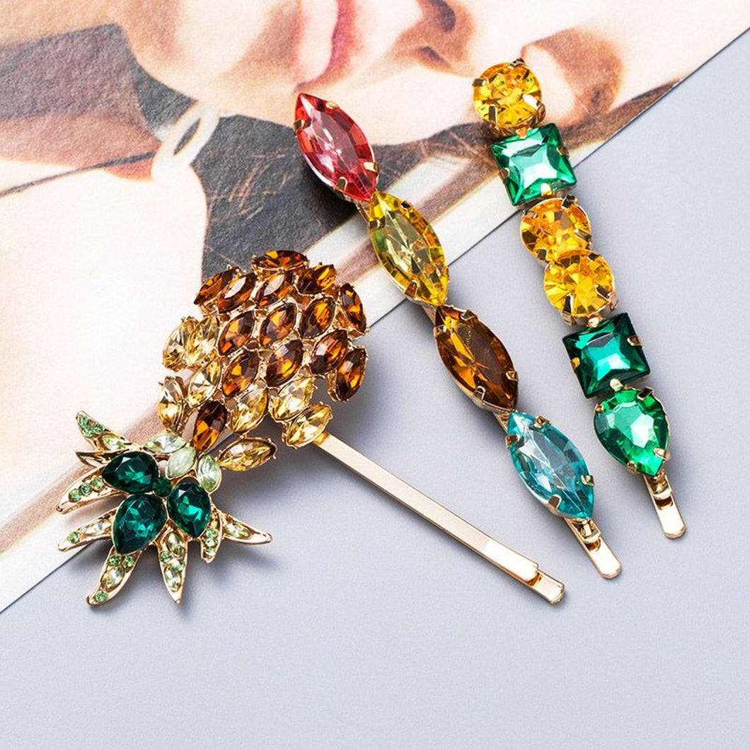 Pineapple Jewelled Hair Clip Set