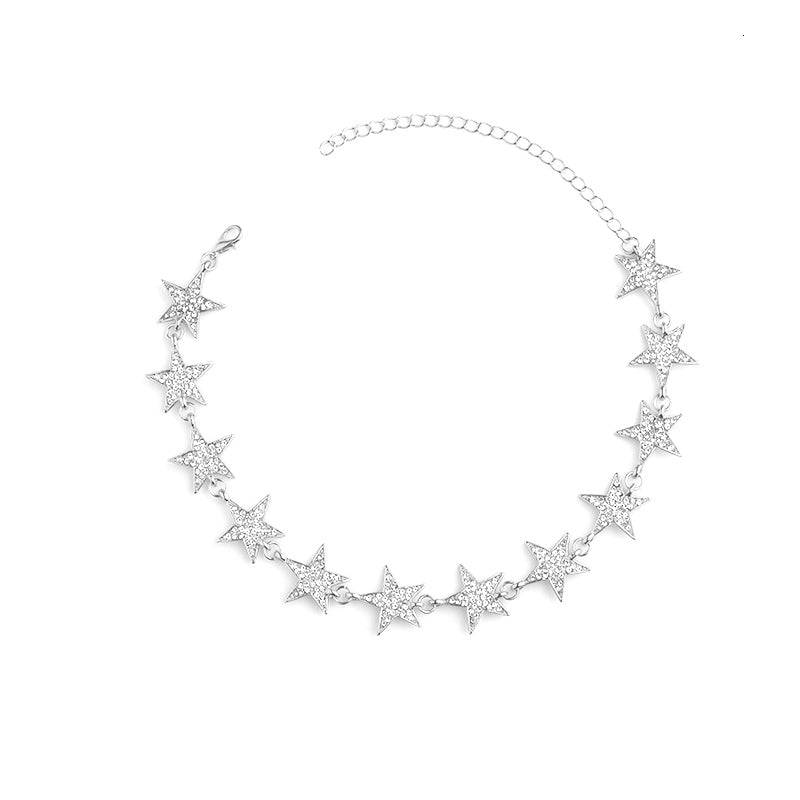 Silver Crystal Star Choker Necklace