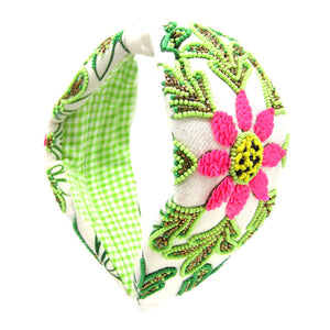 Pink and Green Floral Tropical Headband