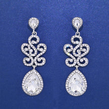 Load image into Gallery viewer, Silver Crystal Floral Chandelier Earrings