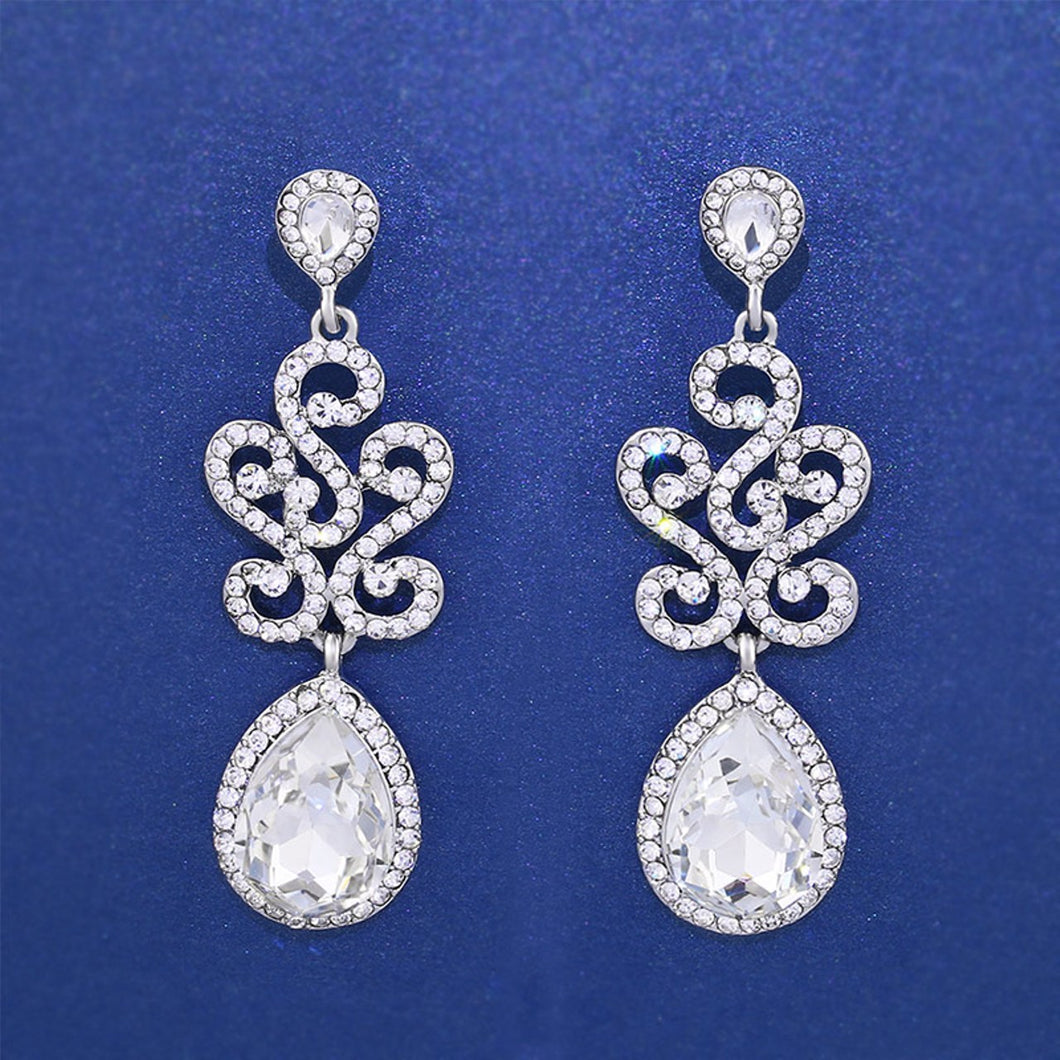 Silver Crystal Floral Chandelier Earrings