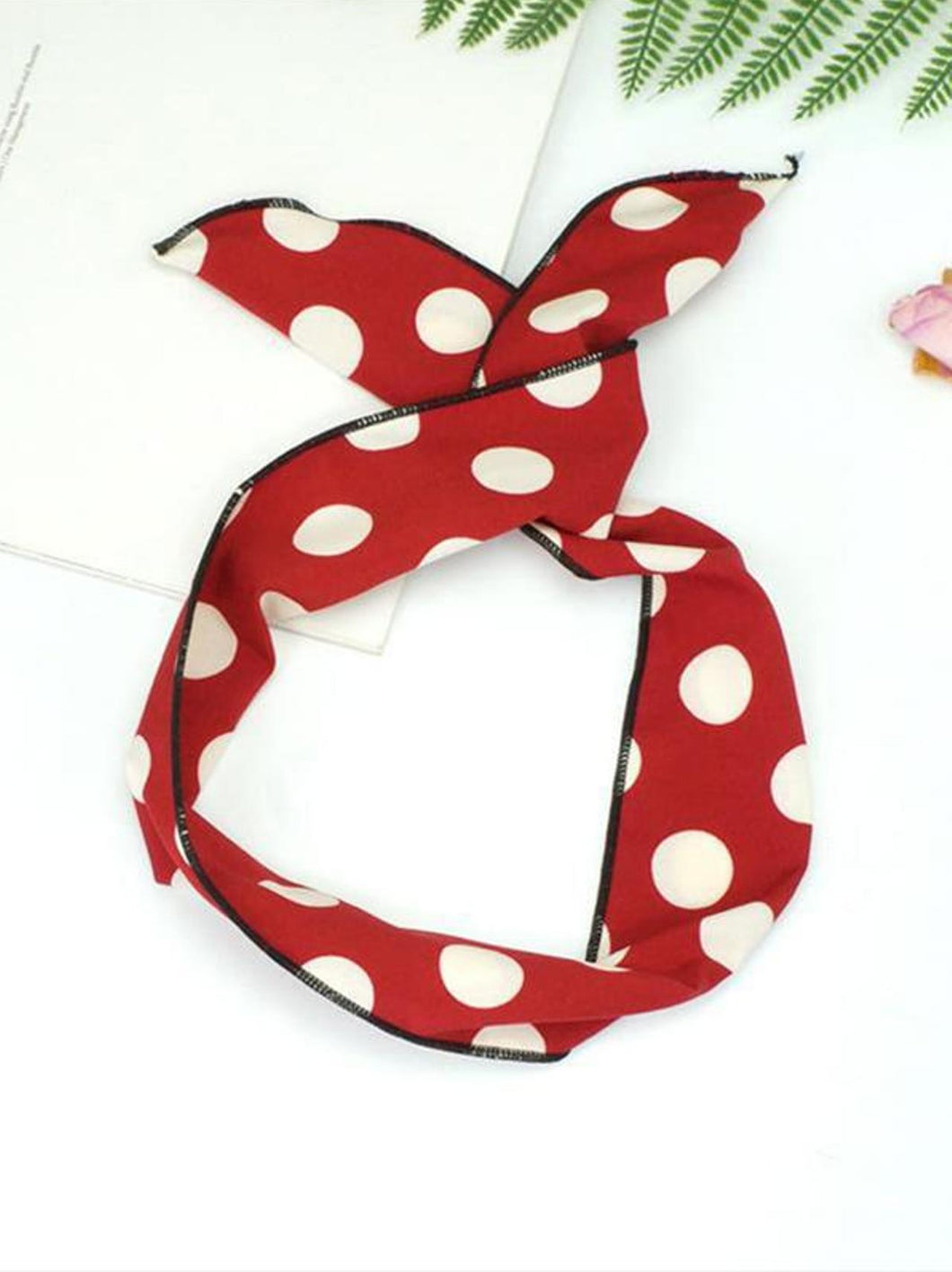 Red Polka Dot Bunny Wire Headband