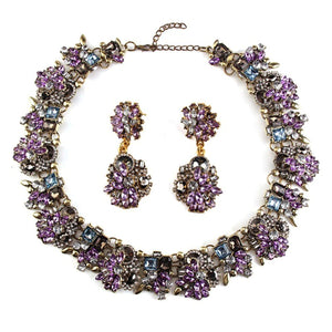 Lilac Crystal Jewelled Statement Necklace and Earrings Set.