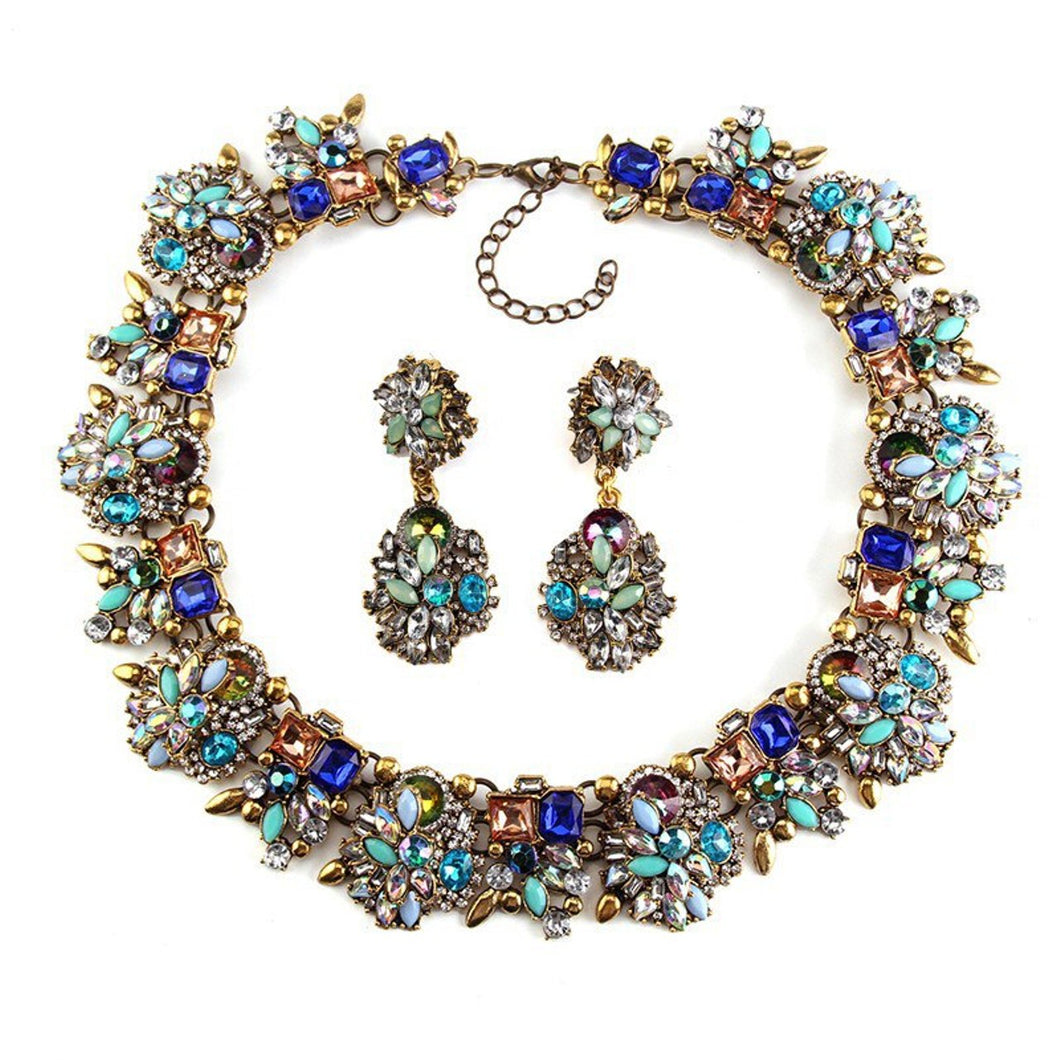 Turquoise Crystal Jewelled Necklace and Earrings Set