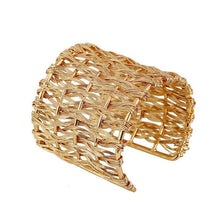 Load image into Gallery viewer, Chunky Gold Basket Weave Cuff