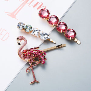 Set of 3 Pink Flamingo and Crystal Hair Slides