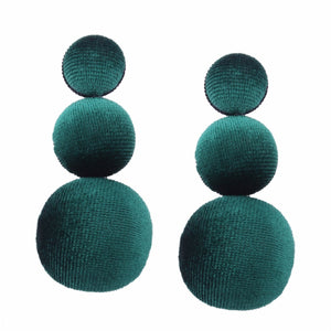 Green Velvet Drop Earrings