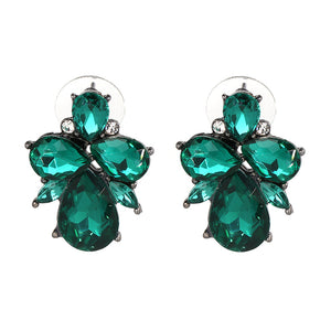 Emerald Green Jewelled Stud Earrings