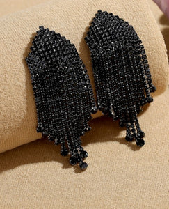 Black Jewelled Tassel Statement Earings