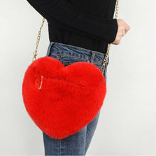 Load image into Gallery viewer, Red Faux Fur Heart Pom Pom Shoulder Bag