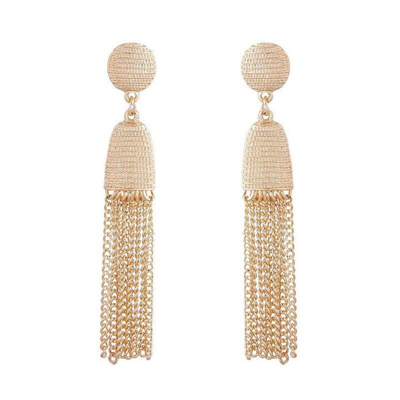 Gold Tassel Chain Earrings
